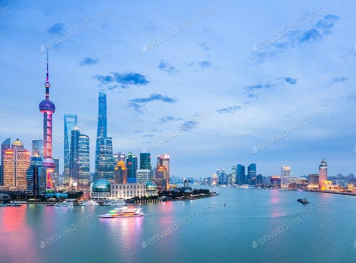 beautiful shanghai cityscape in nightfall