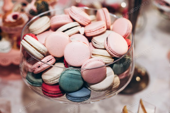 delicious macaroons close-up