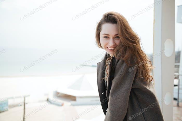 Cute woman looking camera