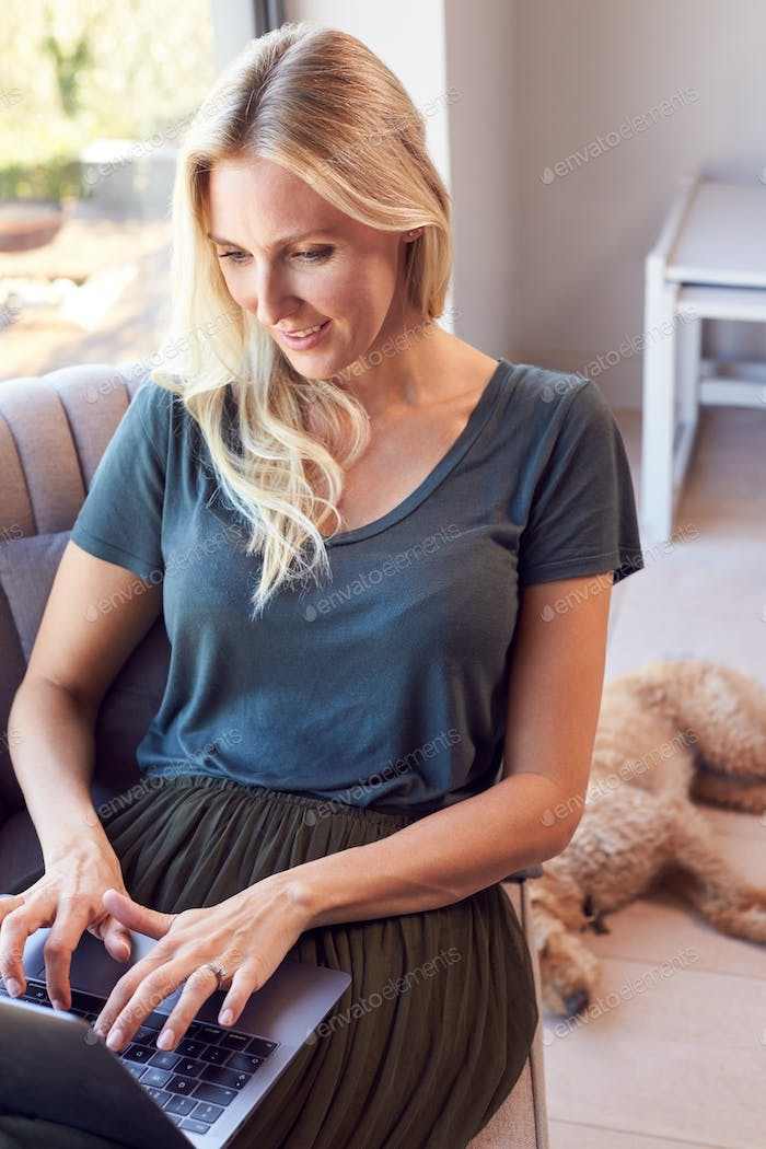 Woman Relaxing In Chair By Window At Home Using Laptop With Pet Dog Behind