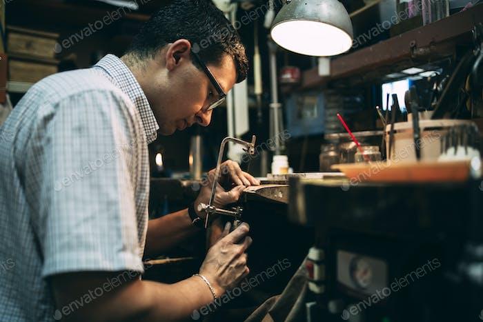 Handyman working on workbench