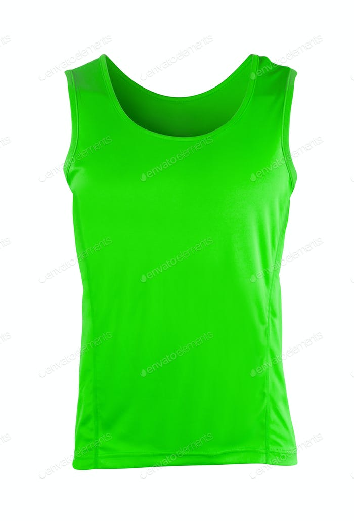 green sleeveless sports top isolated
