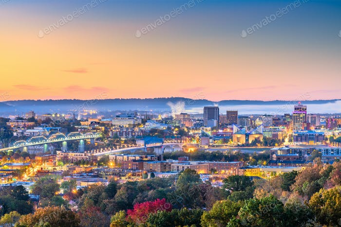 Chattanooga, Tennessee, USA downtown city skyline at dusk