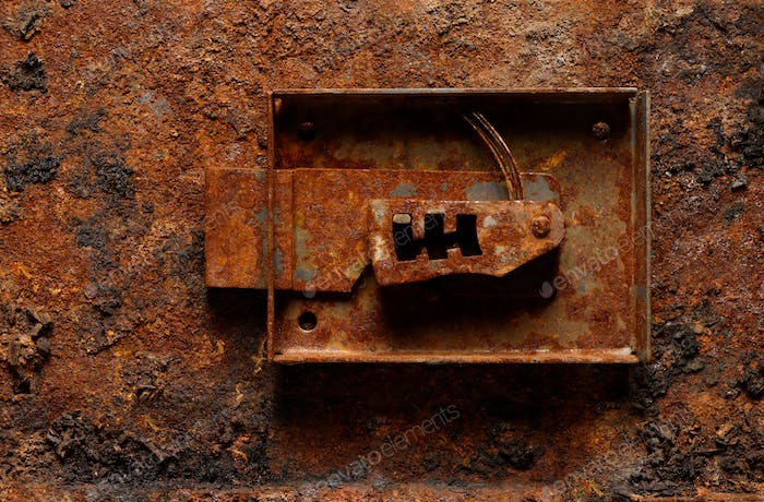 Old broken corroded safe lock