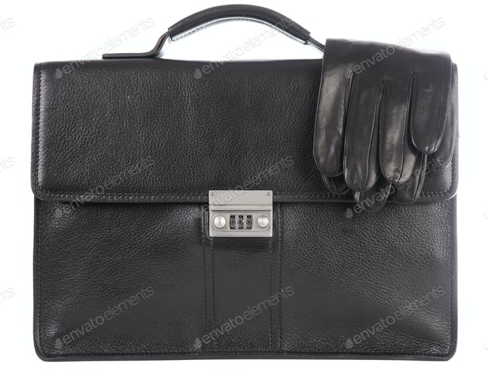 Man's a brief case and gloves