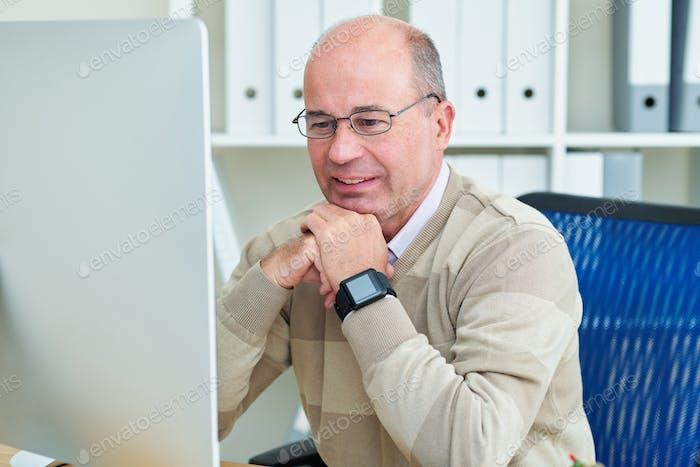 Businessman checking e-mails
