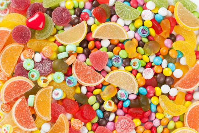 Colorful candies, jelly and marmalade