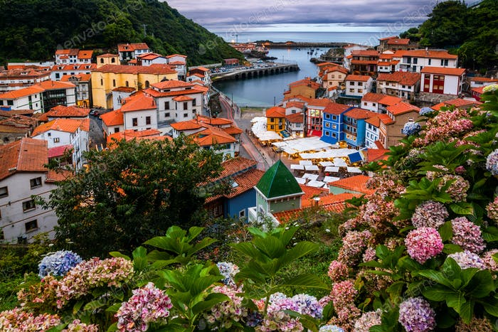 Cudillero, picturesque fishing village at sunset, Asturias, Spain