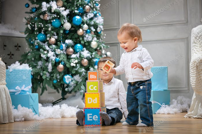 Two brothers playing with wooden alphabet blocks against Christmas tree at home