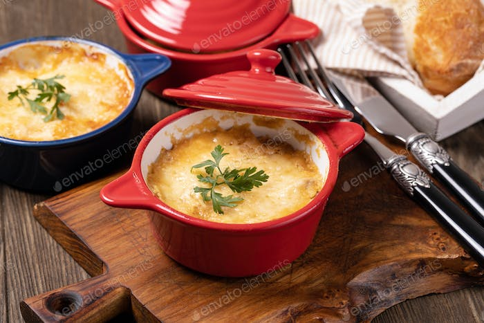 Chicken Stew with Cheese Baked in Pot