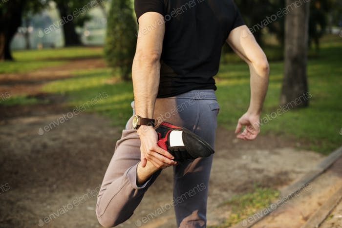 People stretching in a park