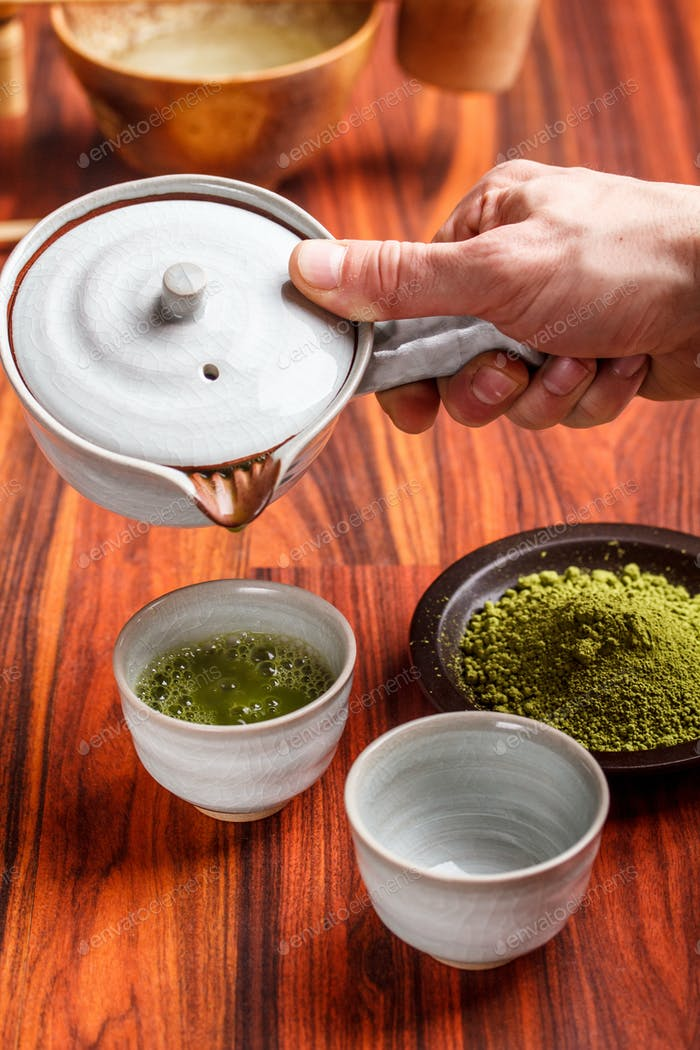 Serving matcha tea