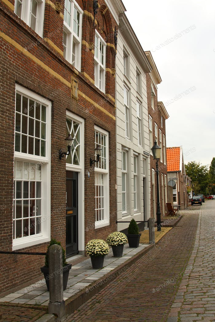 A typical Dutch street in Heusden. The Netherlands