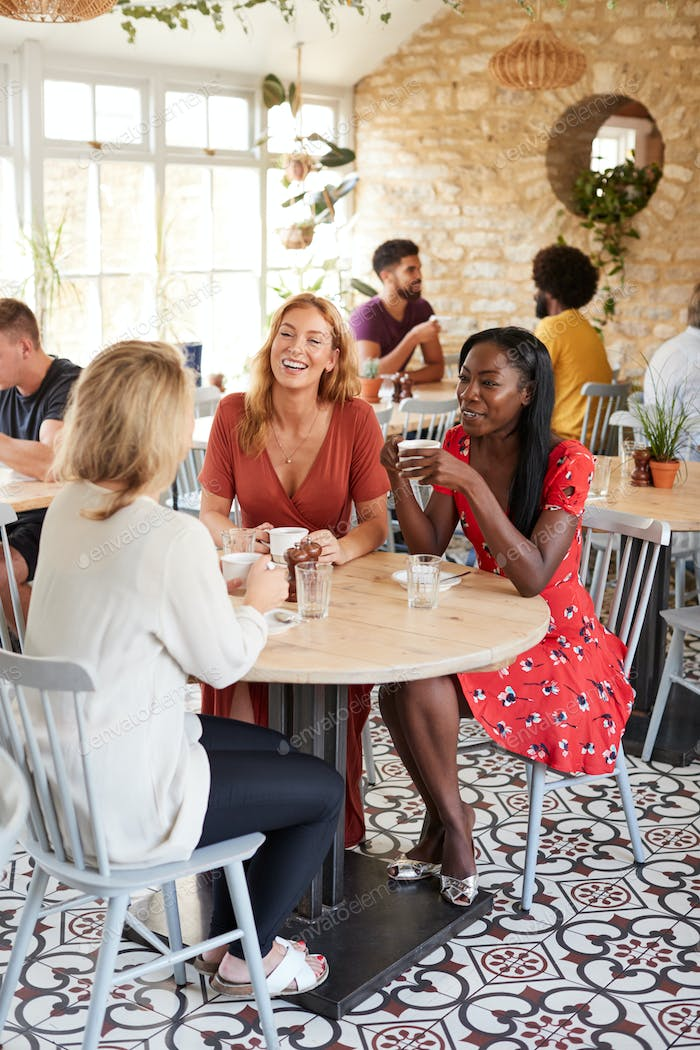 Three female friends talking over brunch at a cafe, vertical