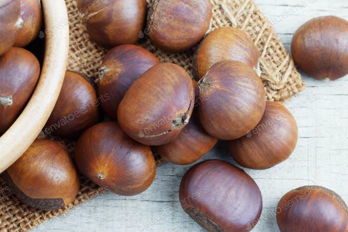 chestnuts on wooden floor