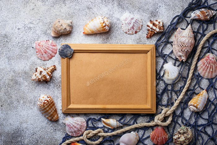 Nautical background with frame for text