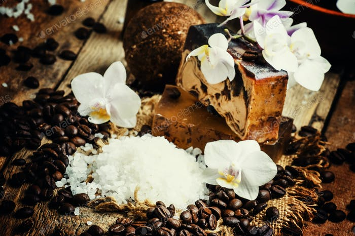 Spa concept with coffee: soap, salt and scrub
