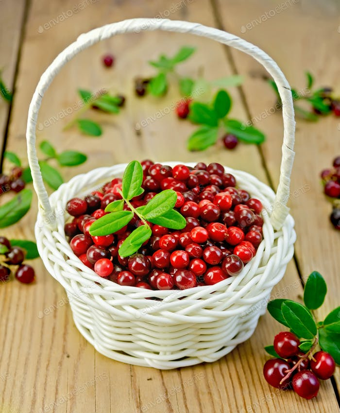 Lingonberries in a white wicker basket