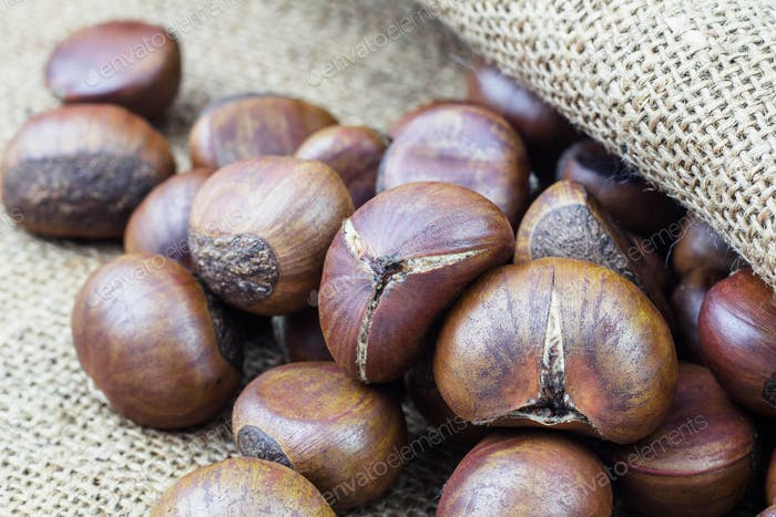 chestnuts on sack