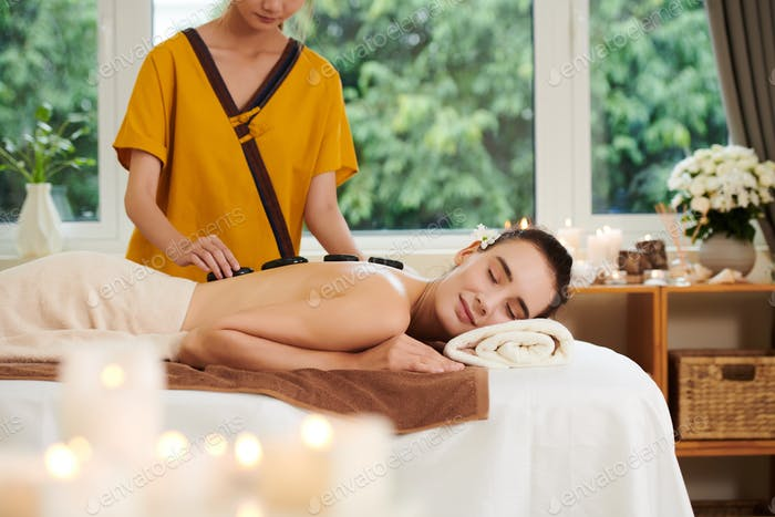 Woman getting spa therapy