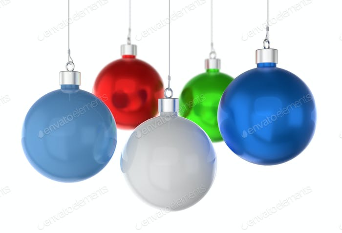 Christmas balls of different colors on a white background.