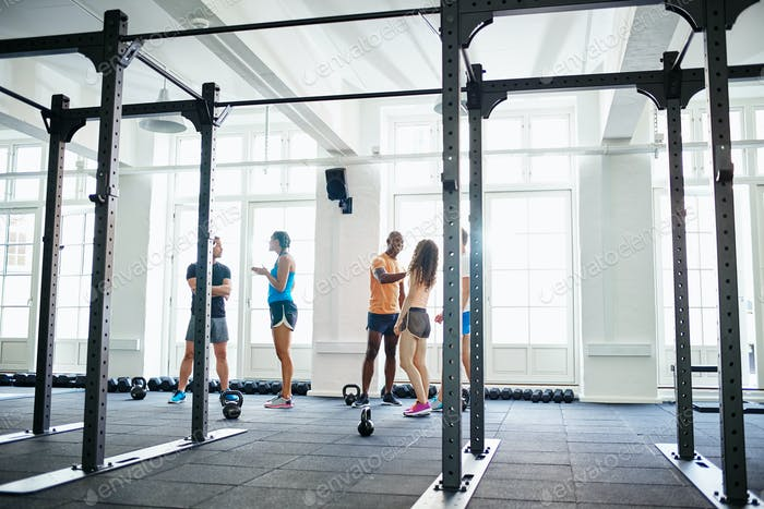 Friends high fiving together after working out in a gym
