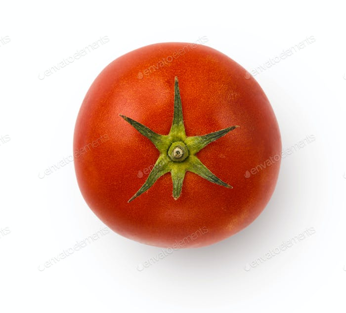 Whole ripe fresh tomato isolated on white background