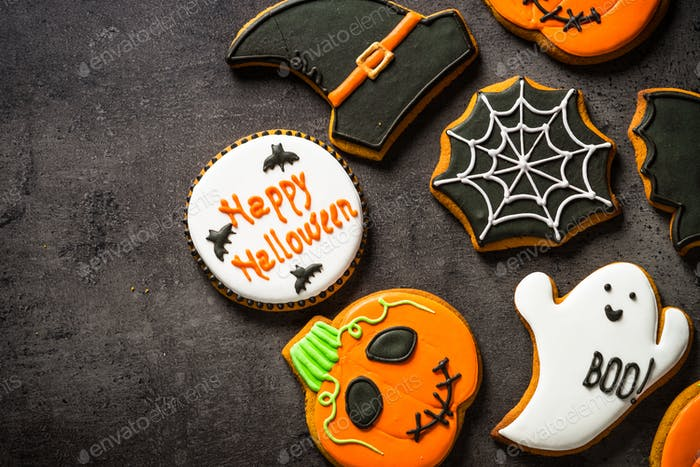 Halloween Gingerbread Cookies at black