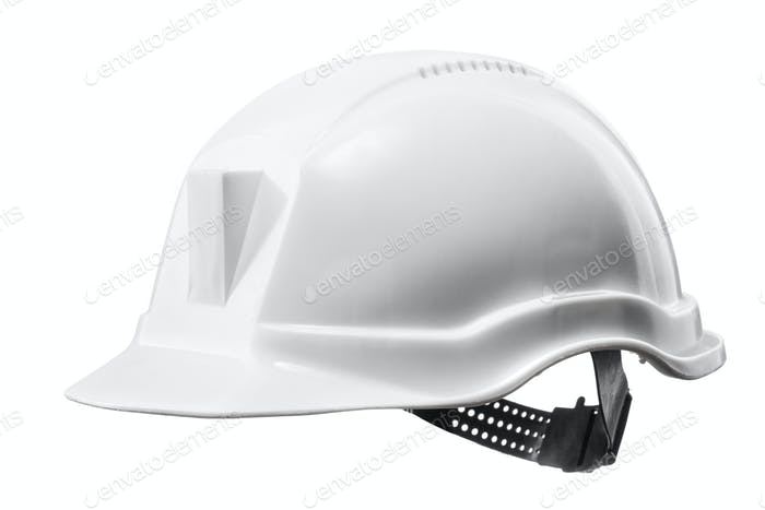 White hard hat isolated on white