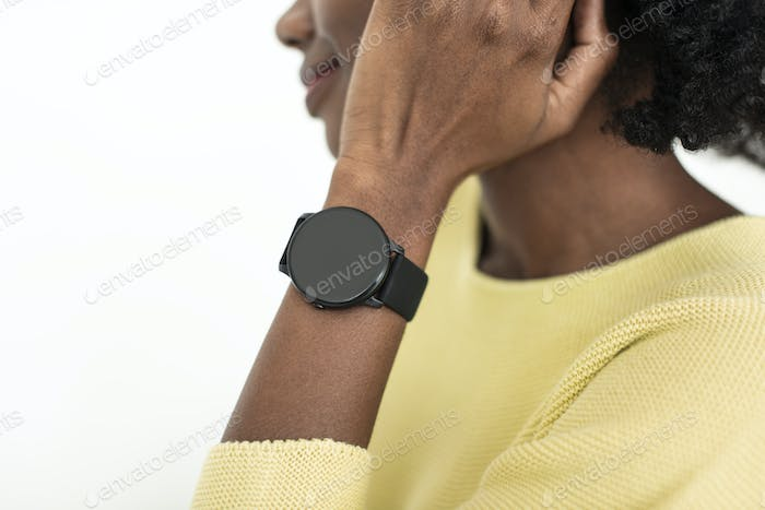 Woman with smartwatch wearable technology