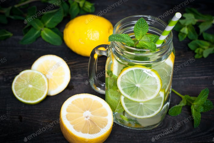 Lemonade with mint in a mason jar