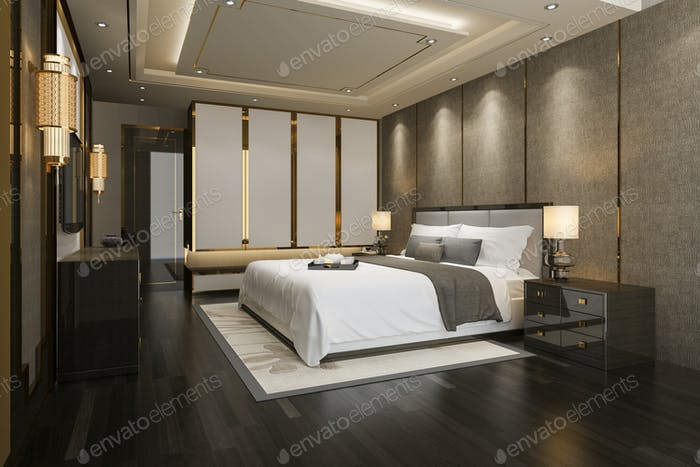 3d rendering luxury modern bedroom suite tv with wardrobe