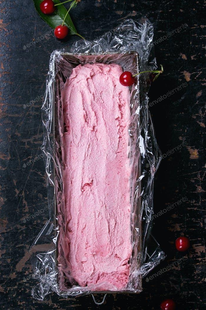 Homemade cherry sorbet