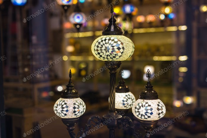 Colourful turkish mosaic lamps oriental traditional light