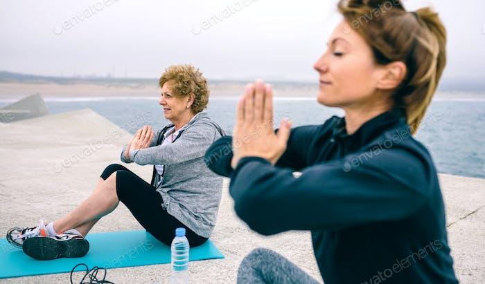 Senior woman with female coach
