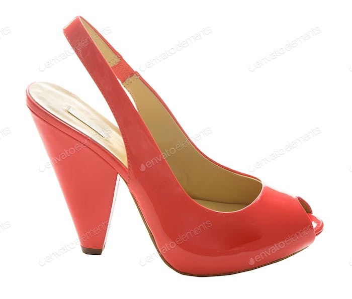 Red patent leather peep toe