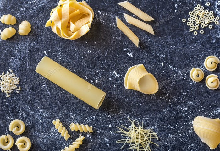 Various types of raw pasta