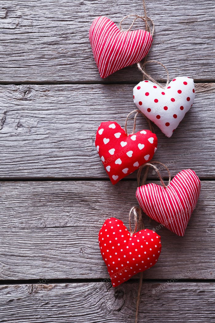 Valentine day, hearts bunch on wood background