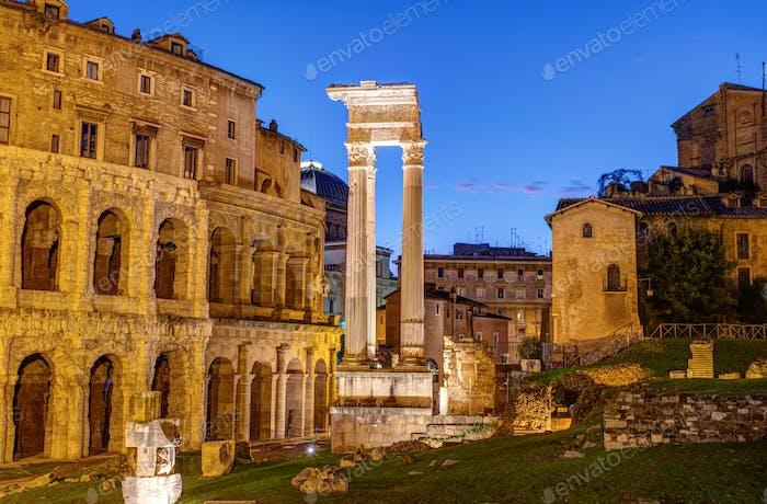 The Theatre of Marcellus and the Temple of Apollo Sosianus