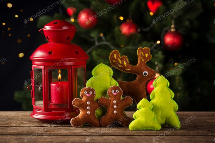Christmas composition with decorative toy