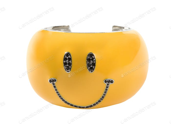 Black strass yellow smiley bracelet