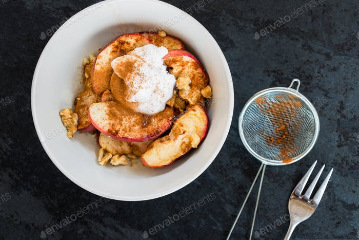 Healthy Snack from Stewed Apple with Cinnamon