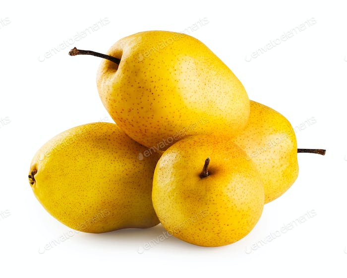 Four ripe yellow pears