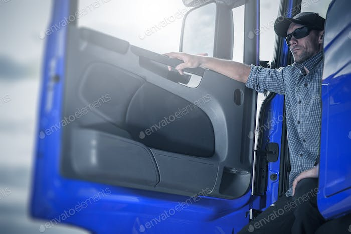 Proud Driver in His Truck