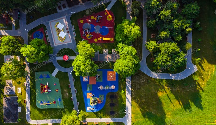 Colorful Playground in Public Park, Aerial Creative Drone Image