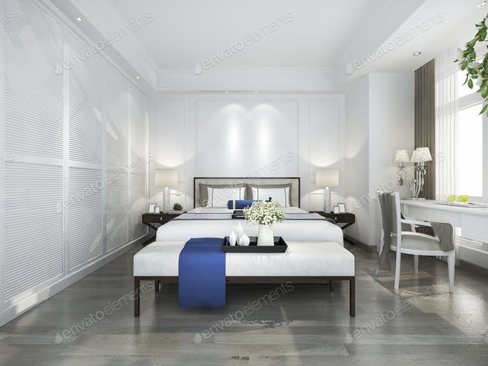 3d rendering beautiful blue vintage bedroom suite in hotel with tv and working table