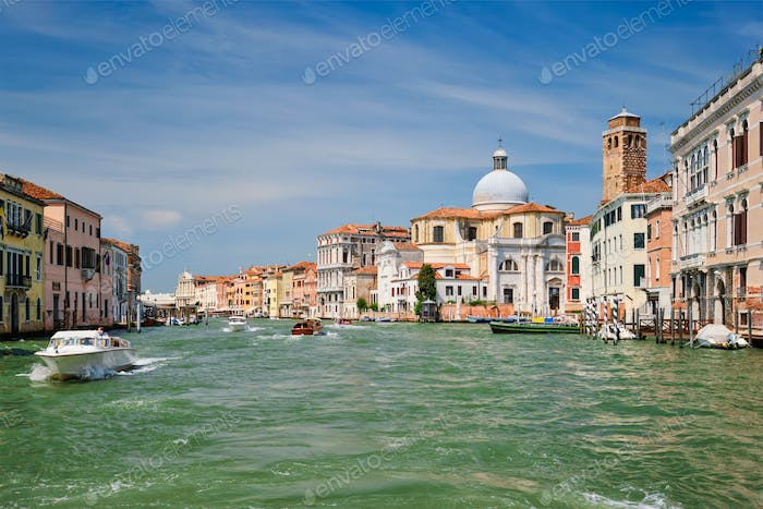 Boats and gondolas on Grand Canal in Venice, Italy