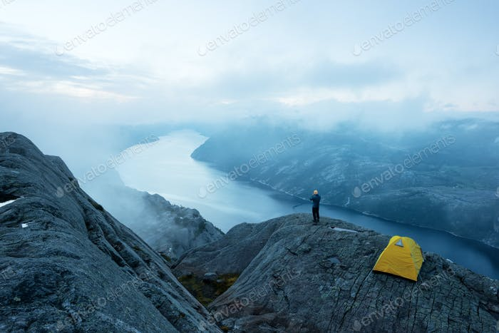Alone tent on Trolltunga rock