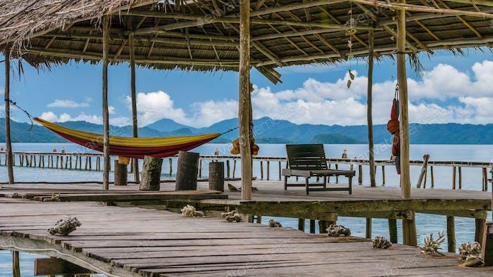 Hammock on Diving Station - Kri Island. Raja Ampat, Indonesia, West Papua