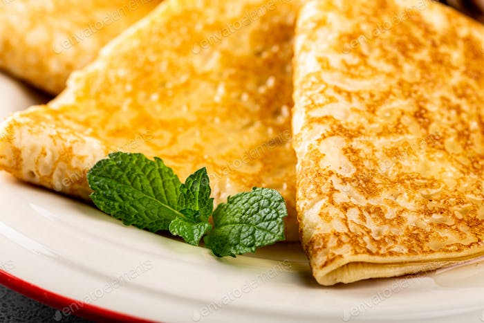 Delicious Tasty Homemade crepes or pancakes